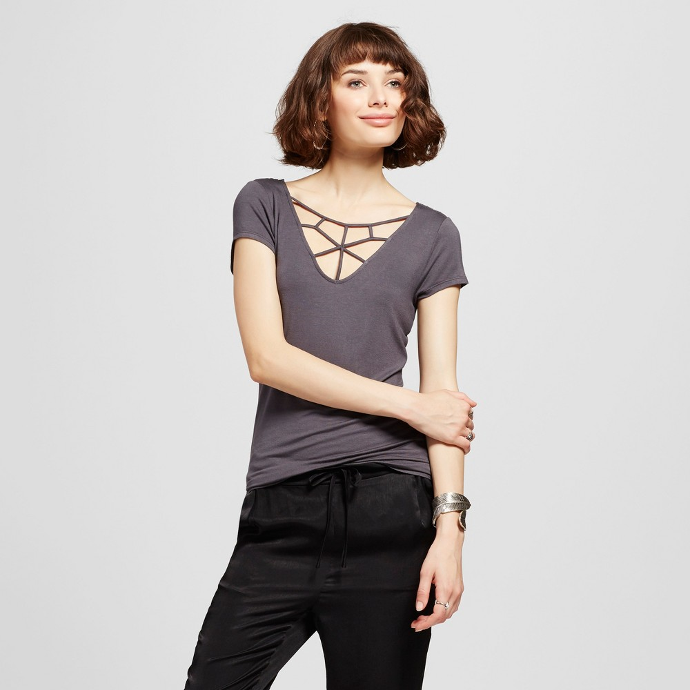 Womens Caged Front Lace Back Short Sleeve Top - Almost Famous (Juniors) Gray S
