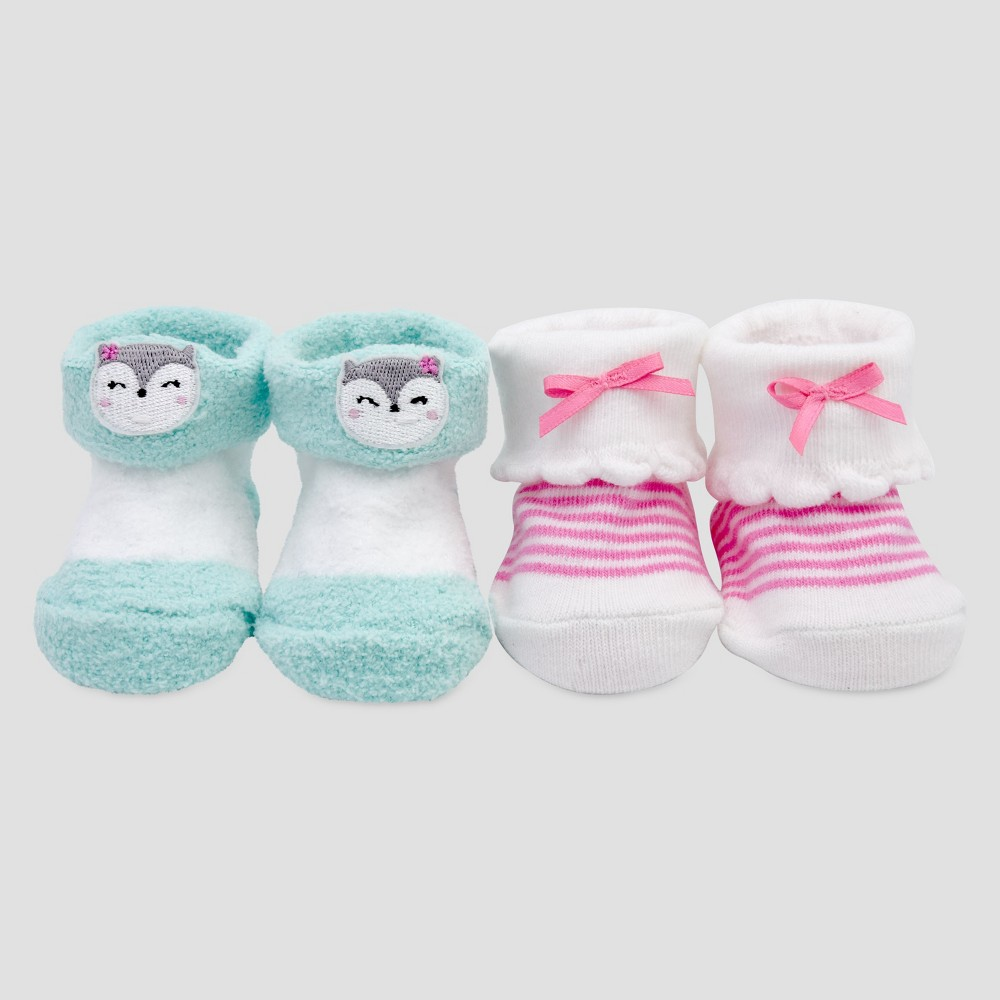 Baby Girls 2pk Keepsake Booties - Just One You Made by Carters Pink/Blue NB