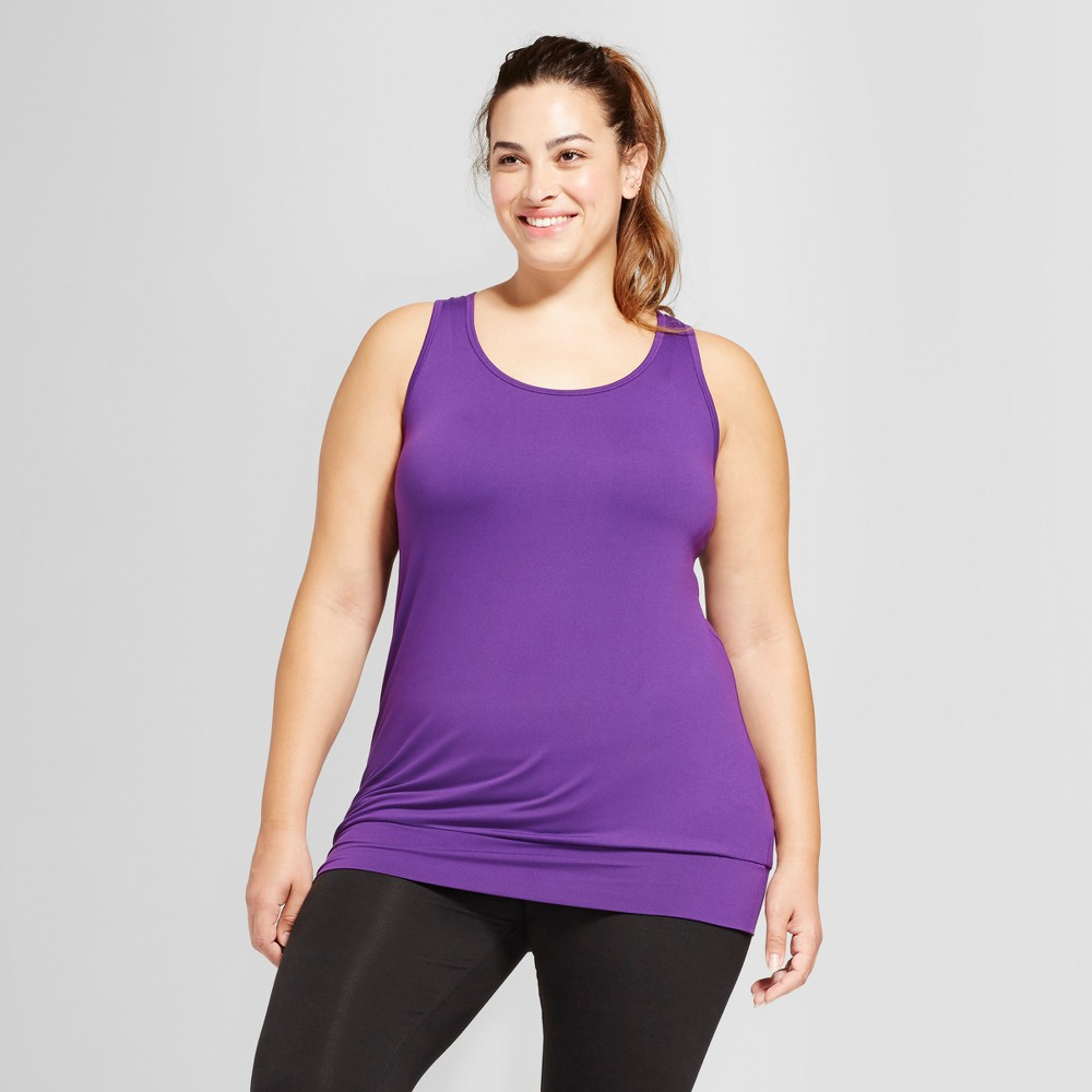 Womens Plus-Size Banded Bottom Tank Top - C9 Champion - Grape Splash 3X