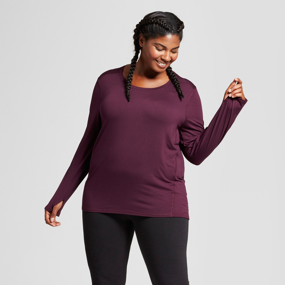 Womens Plus-Size Long Sleeve Tech T-Shirt - C9 Champion - Burgundy Blazer 3X