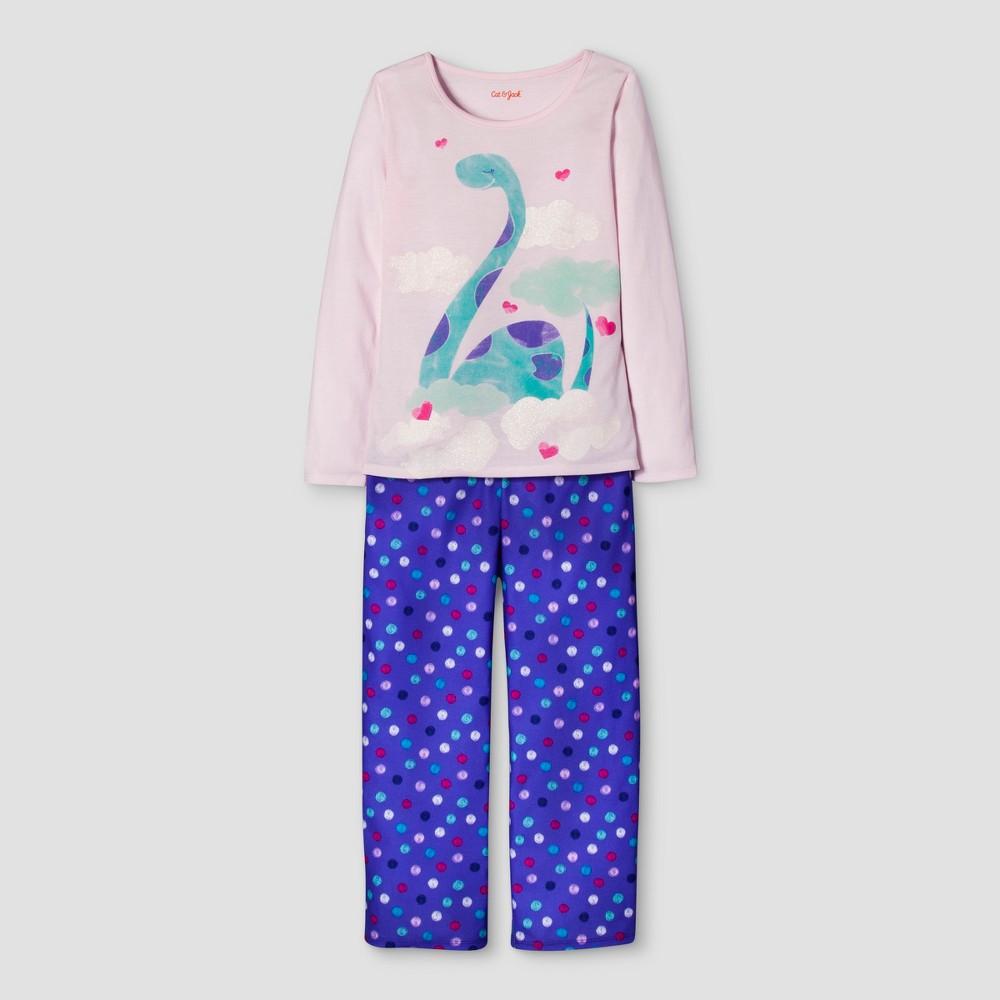 Girls 2 Piece Long Sleeve Dino Pajama Set - Cat & Jack Cherry Pink M