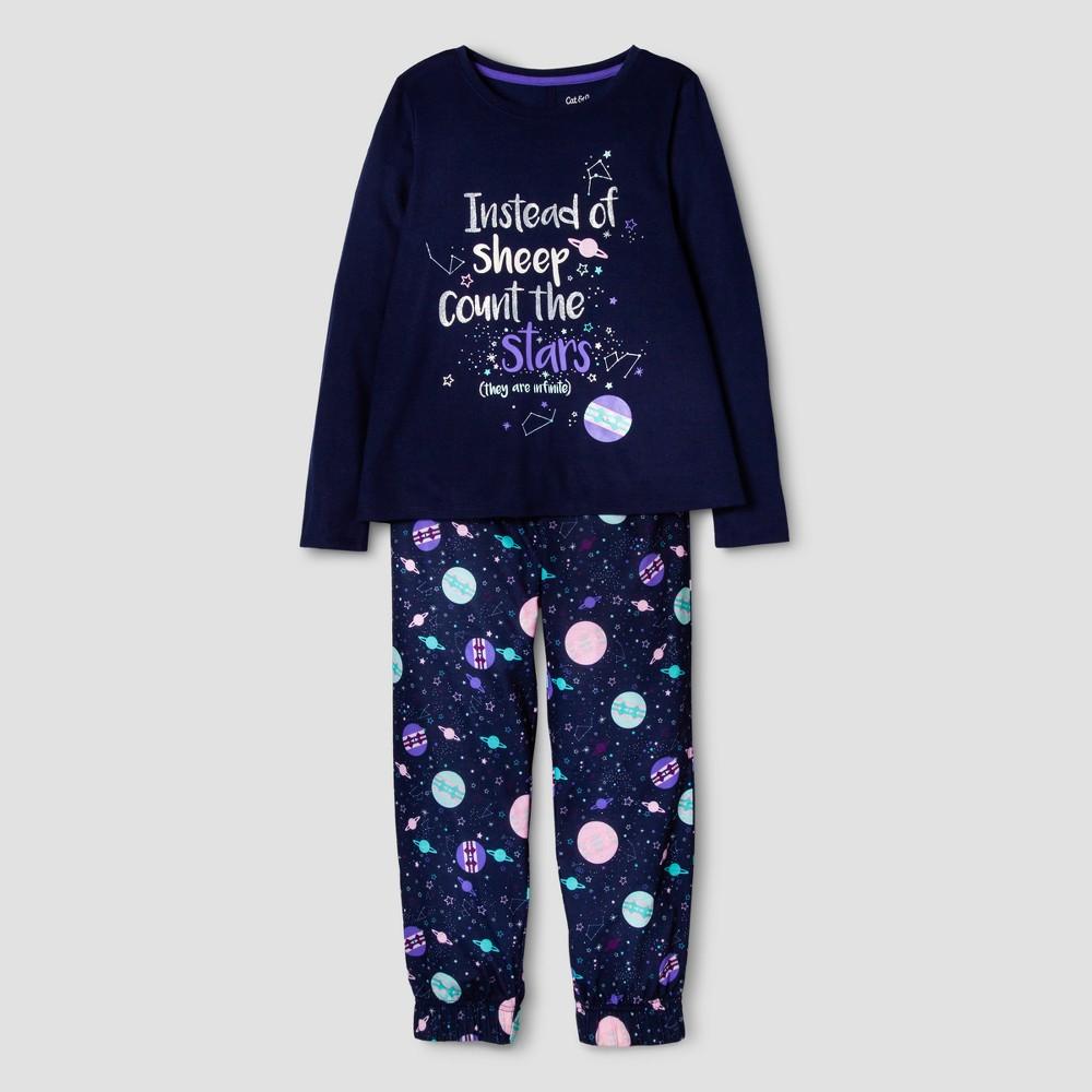 Girls 2pc Long Sleeve Count the Stars Pajama Set - Cat & Jack Nightfall Blue L