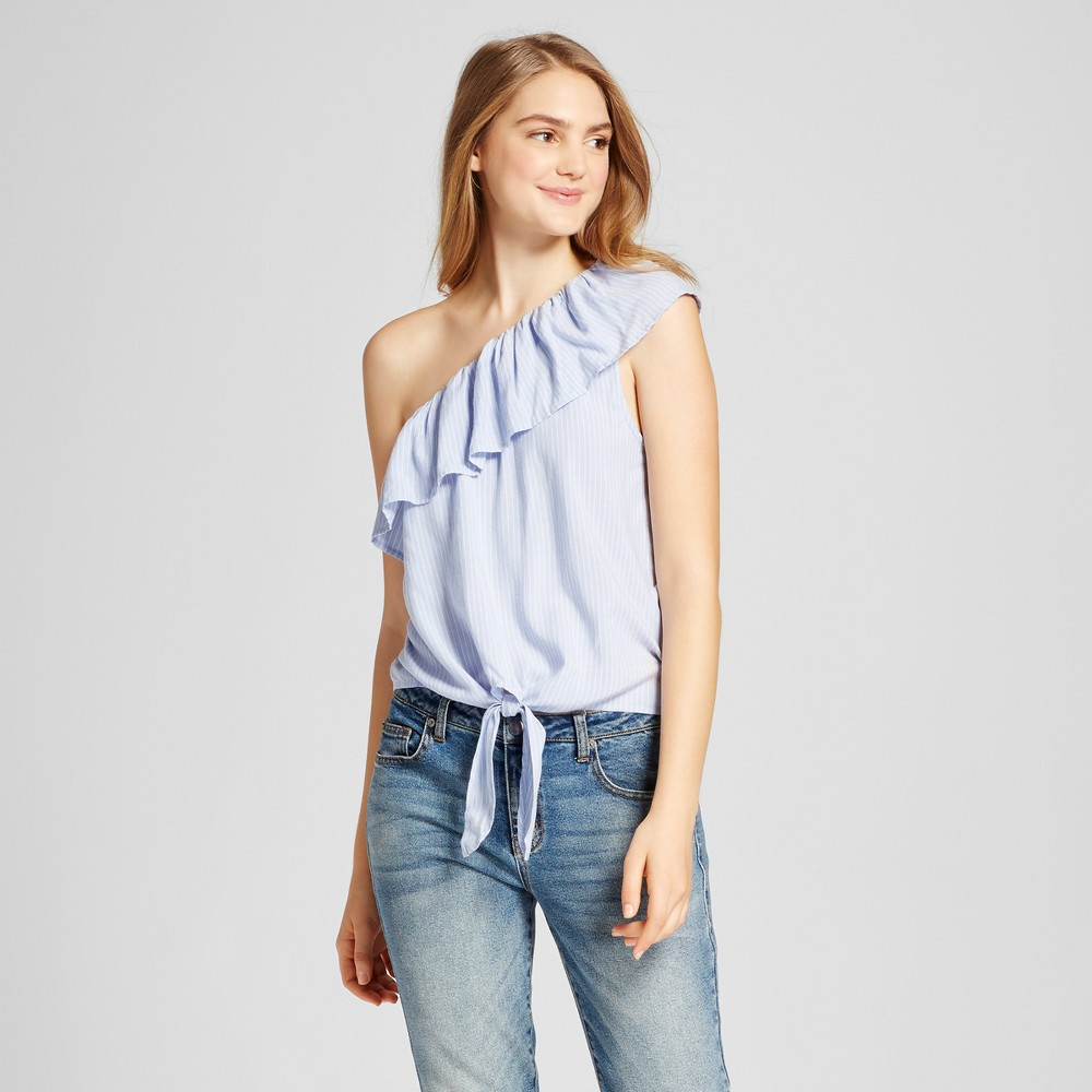 Womens Off the Shoulder Stripe Top - Mossimo Supply Co. Blue L, Size: Xxl
