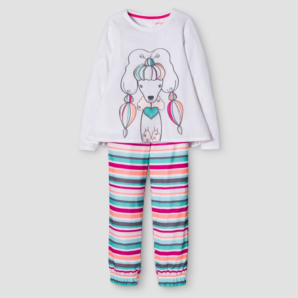 Girls 2 Piece Long Sleeve Poodle Pajama Set - Cat & Jack White/Stripes S