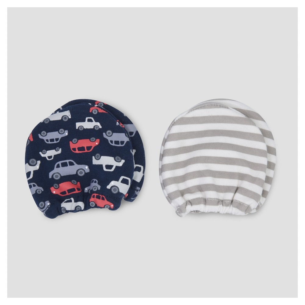 Baby Boys 2pk Mittens - Just One You Made by Carters Gray/Navy NB, Multi-Colored