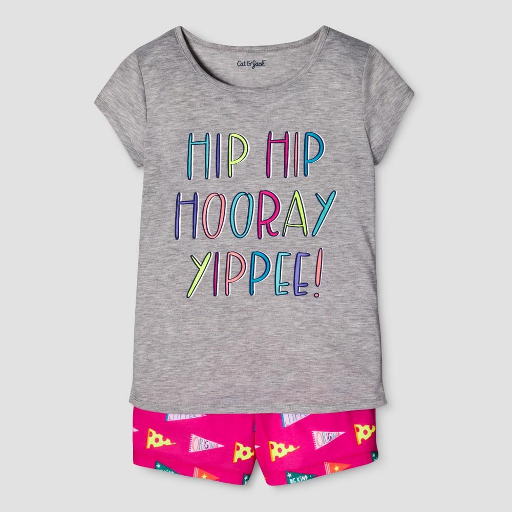 Girls 2pc Short Sleeve Hip Hip Hooray Pajama Set - Cat & Jack Heather Gray L