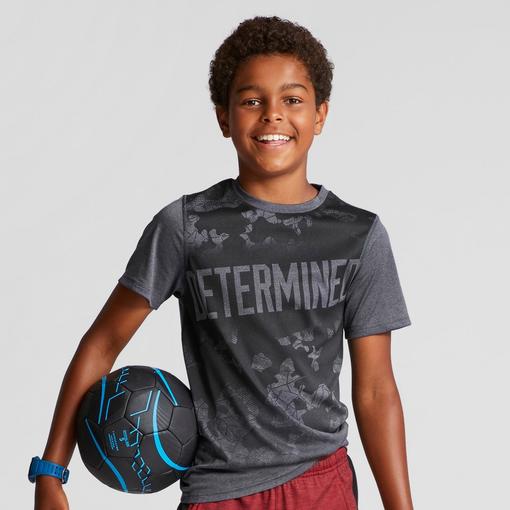Boys Graphic Tech T-Shirt - C9 Champion Stealth Gray Heather M Determined
