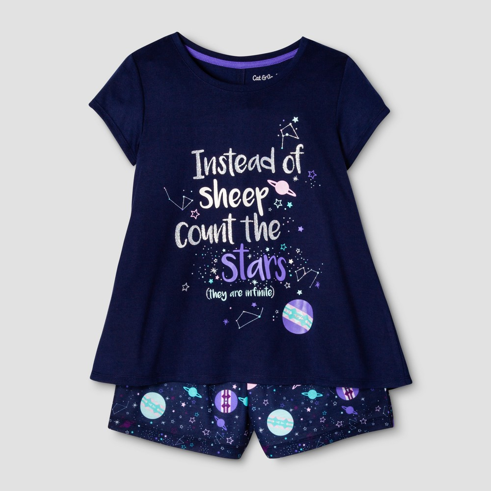 Girls 2pc Short Sleeve Nightfall Stars Pajama Set - Cat & Jack Blue XS
