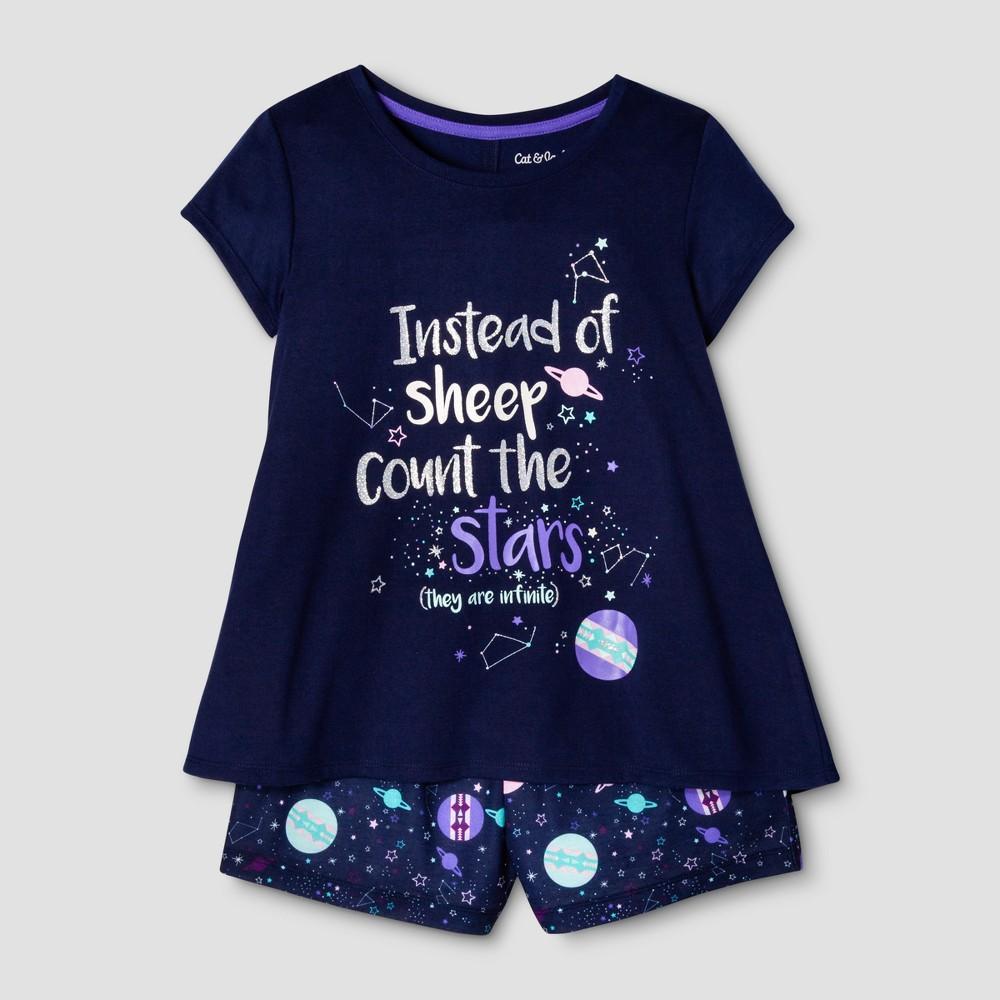 Girls 2pc Short Sleeve Nightfall Stars Pajama Set - Cat & Jack Blue L