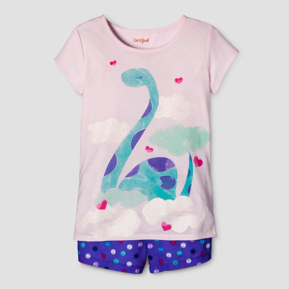 Girls 2pc Short Sleeve Dino Pajama Set - Cat & Jack Pink/Purple XS