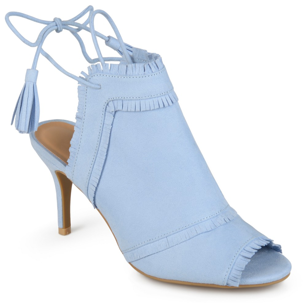 Womens Journee Collection Haven Tassel Open Toe Fringe High Heels - Blue 9