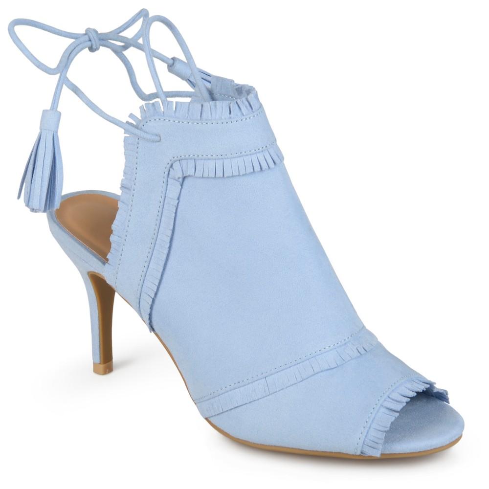 Womens Journee Collection Haven Tassel Open Toe Fringe High Heels - Blue 11