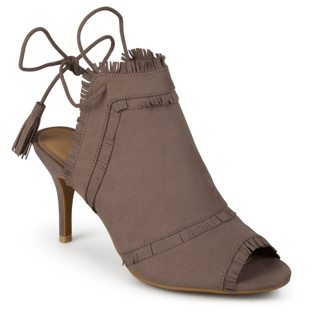 Womens Journee Collection Haven Tassel Open Toe Fringe High Heels - Taupe (Brown) 10
