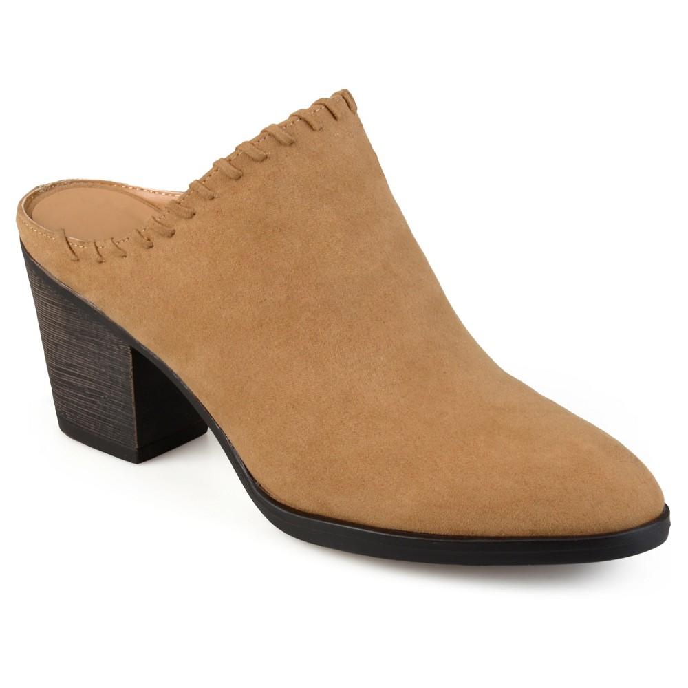 Womens Journee Collection Gigi Faux Suede Whipstitch High Heel Mules - Dark Chestnut 6