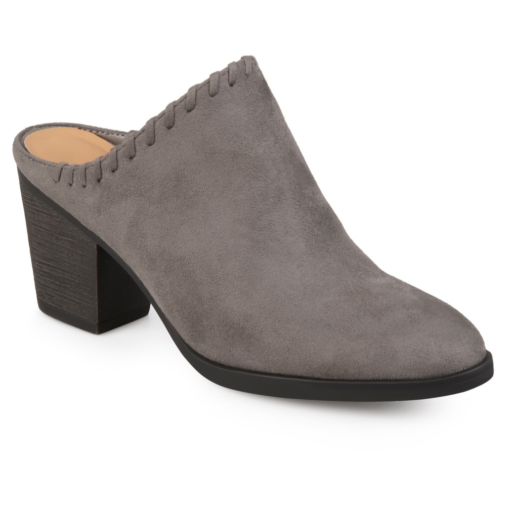 Womens Journee Collection Gigi Faux Suede Whipstitch High Heel Mules - Gray 8.5