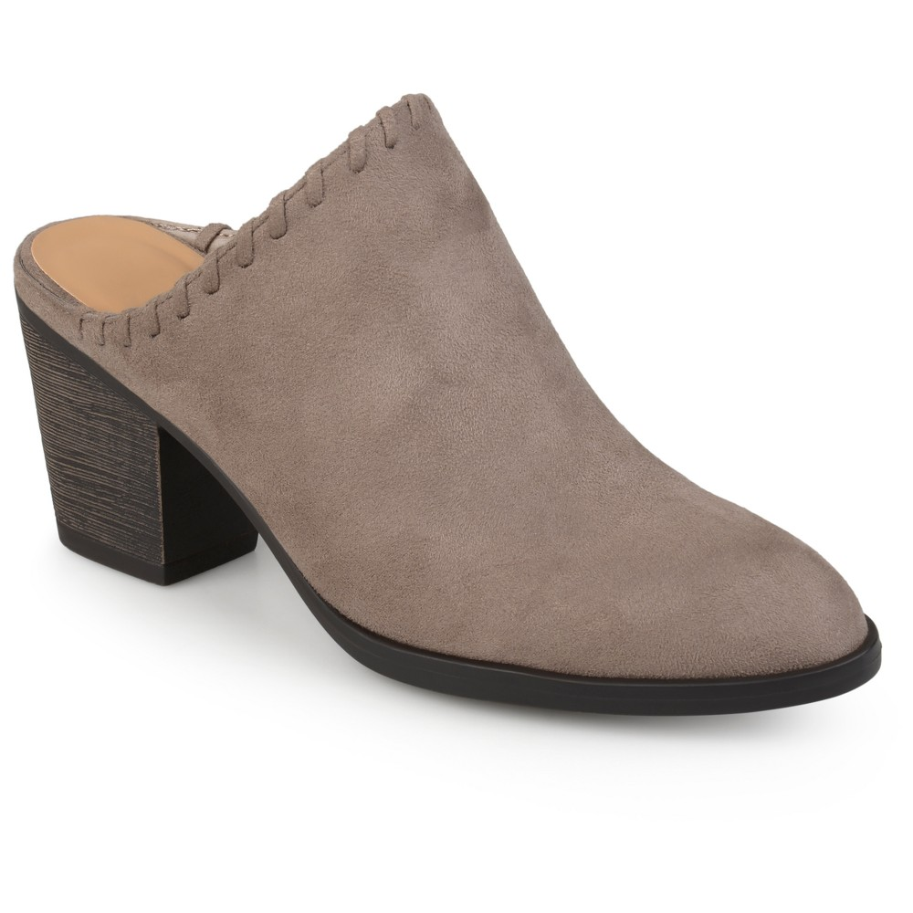 Womens Journee Collection Gigi Faux Suede Whipstitch High Heel Mules - Taupe (Brown) 6.5