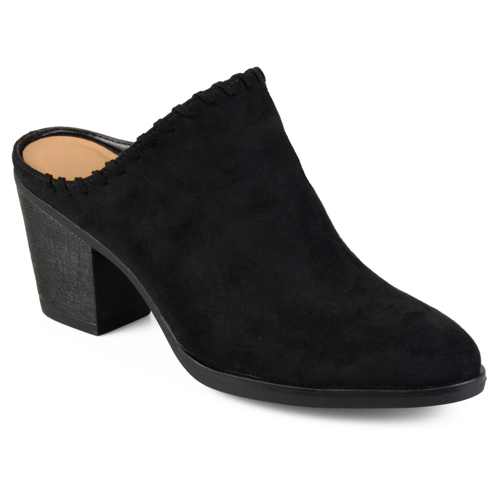 Womens Journee Collection Gigi Faux Suede Whipstitch High Heel Mules - Black 11
