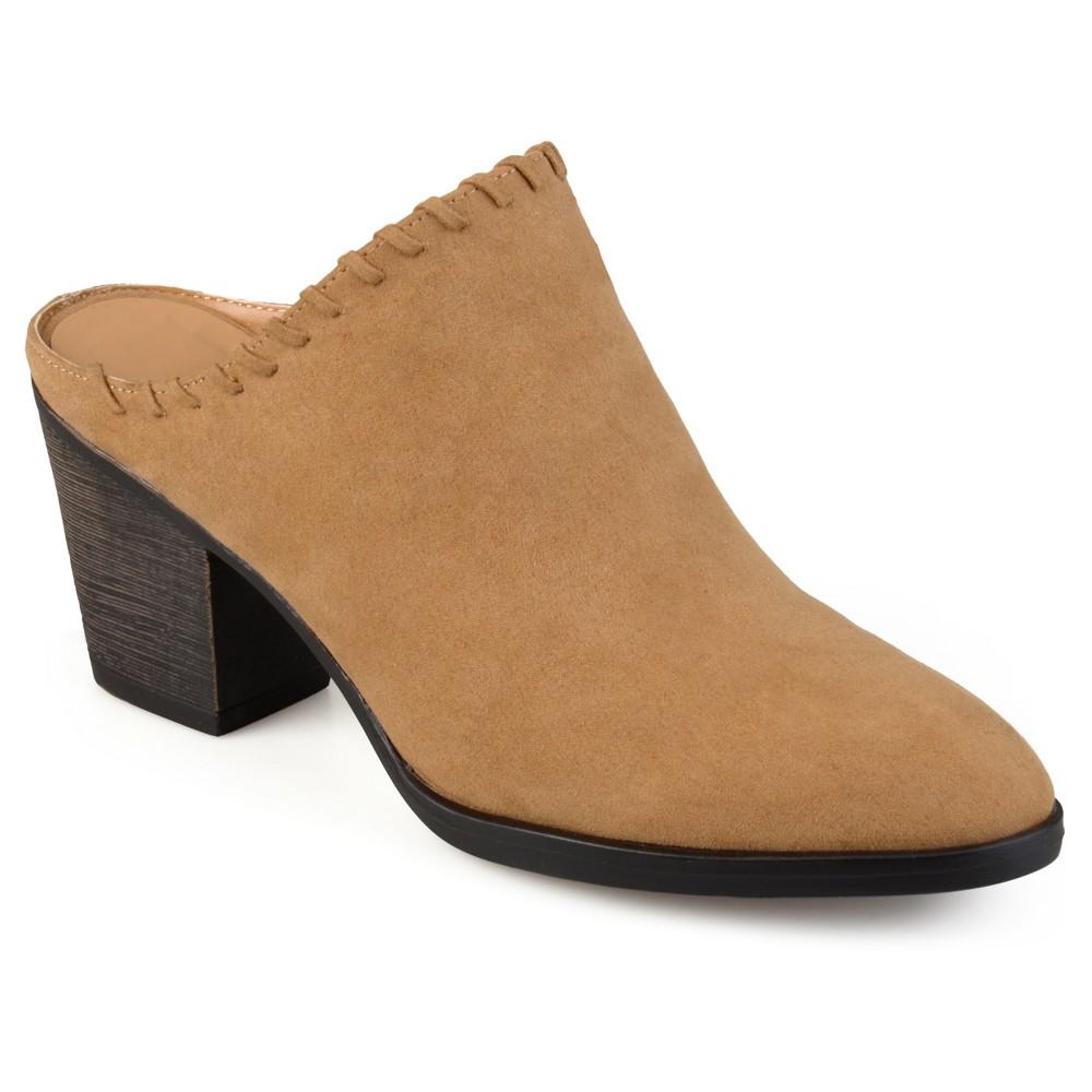 Womens Journee Collection Gigi Faux Suede Whipstitch High Heel Mules - Dark Chestnut 7.5