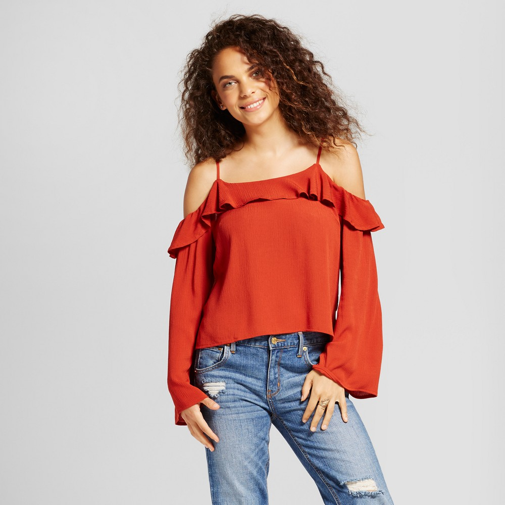 Womens Cold Shoulder Top - Mossimo Supply Co. Rust L, Orange