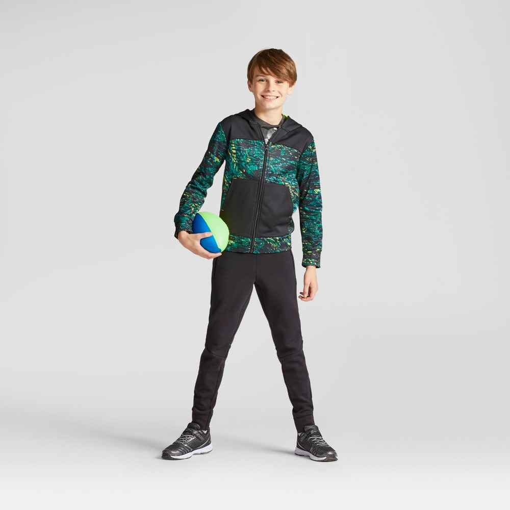 Boys Printed Tech Fleece Full Zip Hoodie - C9 Champion Green L