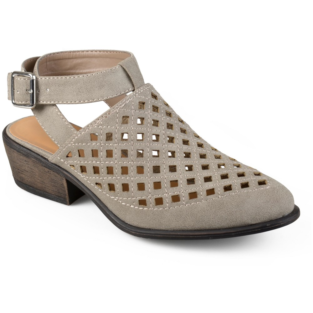 Womens Journee Collection Shilo Laser Cut Open Back Booties - Stone (Grey) 10