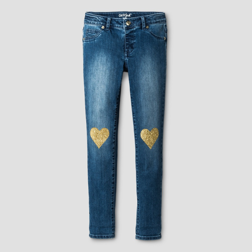 Girls Jeans Jeggings with Heart Knee Patches - Cat & Jack Medium Blue 14 Slim