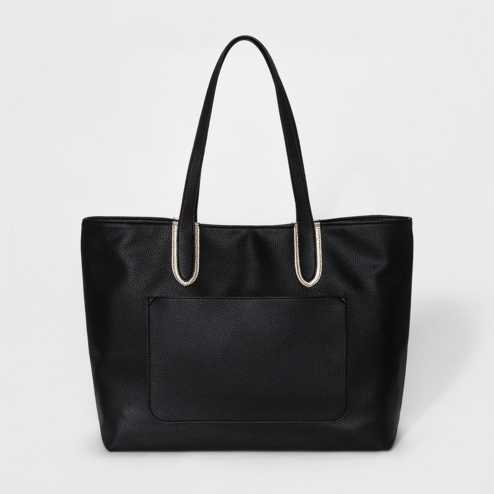 Womens Colorblock Tote Handbag - Merona Black