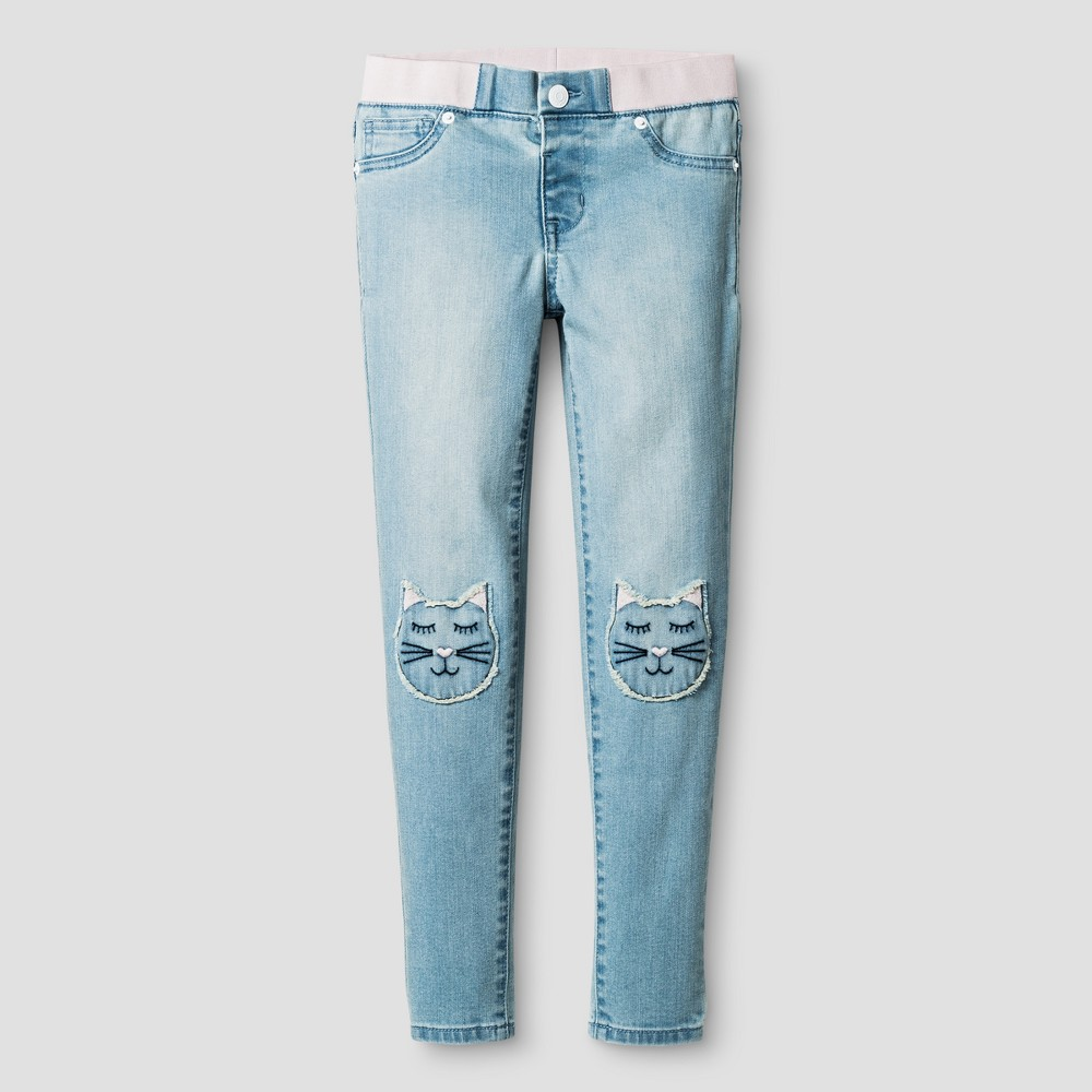 Girls Jeans Jeggings Cat Patches - Cat & Jack Light Blue 7