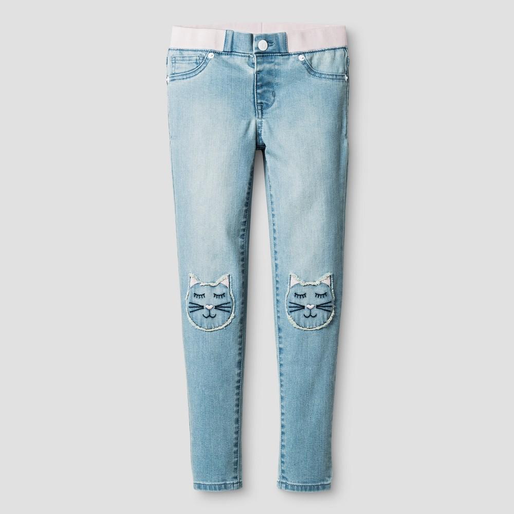 Girls Jeans Jeggings Cat Patches - Cat & Jack Light Blue 8 Slim