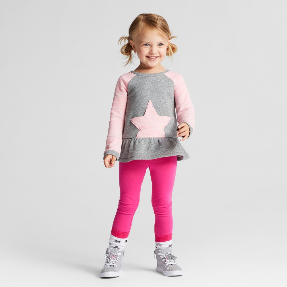 Toddler Girls Top And Bottom Set - Cat & Jack Pizzazz Pink 3T