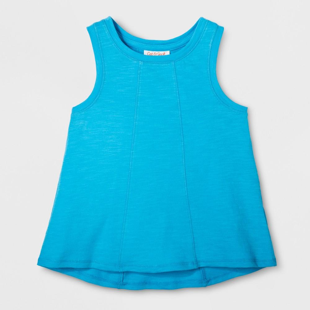 Toddler Girls Sleeveless Tank Top - Cat & Jack Panama Blue 12M, Size: 12 M