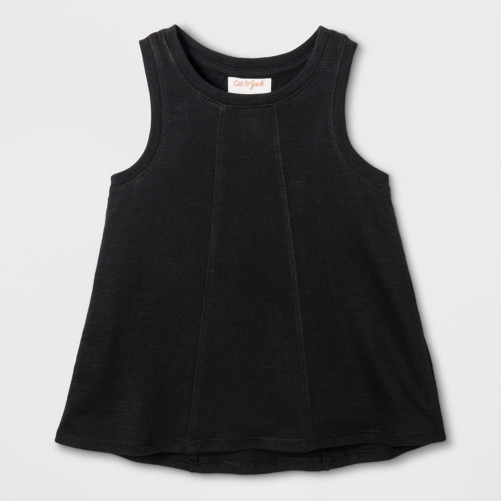 Toddler Girls Sleeveless Tank Top - Cat & Jack Black 18M, Size: 18 M