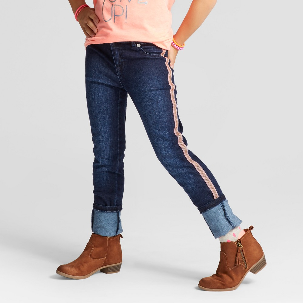 Girls Super Skinny Tuxedo Stripe Jeans - Cat & Jack Dark Blue 18