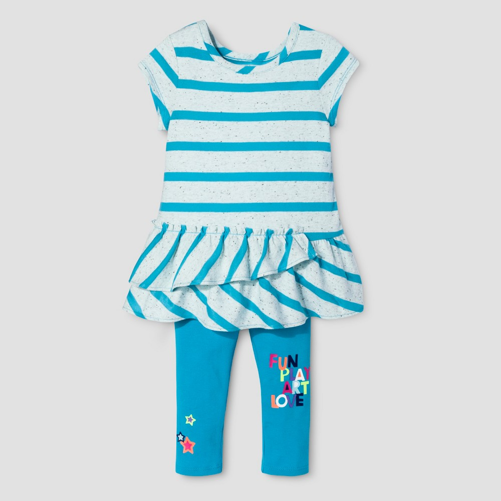 Toddler Girls Top And Bottom Set Cat & Jack - Panama Blue 18M, Size: 18 M
