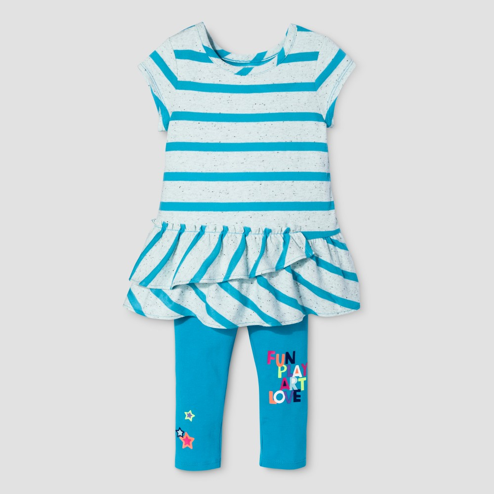 Toddler Girls Top And Bottom Set - Cat & Jack Panama Blue 2T