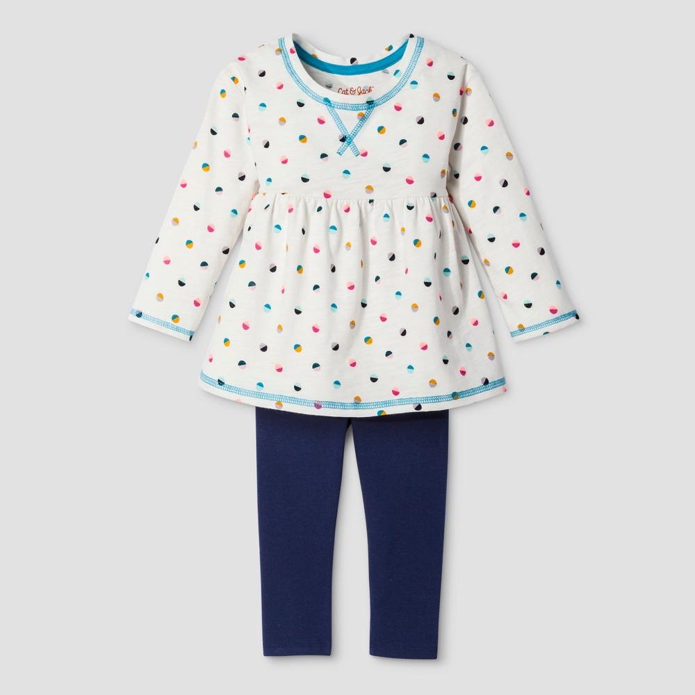 Toddler Girls Top And Bottom Set - Cat & Jack Almond Cream 4T, White