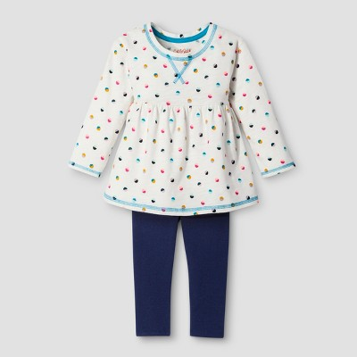 Toddler Girls' Top And Bottom Set - Cat & Jack™ Almond Cream 18M