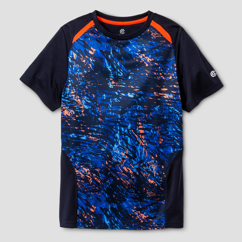 Boys Printed Novelty Tech T-Shirt - C9 Champion Navy (Blue) Ripple Camo XL