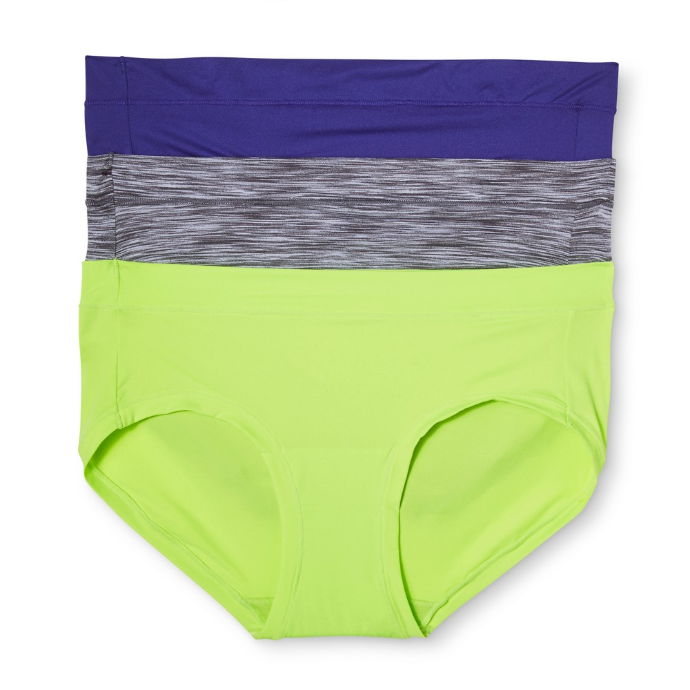 Maidenform Self Expressions Womens 3pk Sport Hipster Briefs - Blue/Green/Gray Heather XL, Multicolored