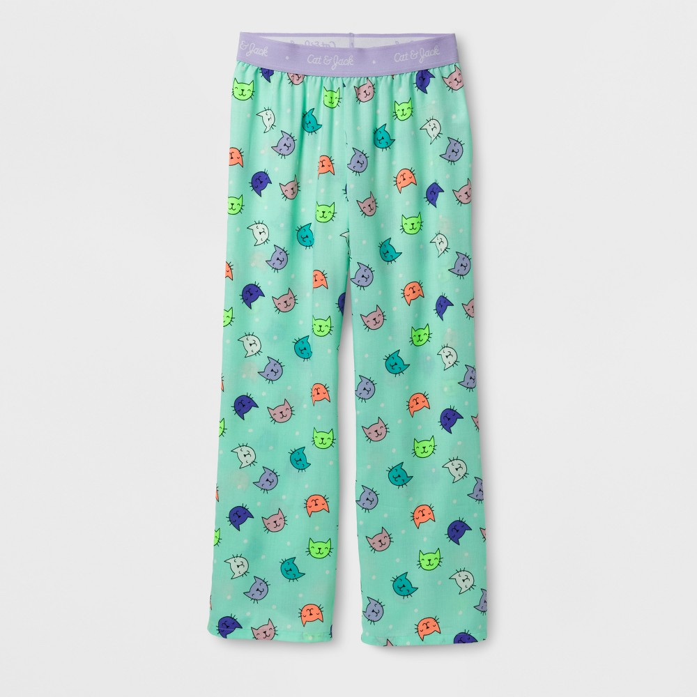 Girls Cat Print Pajama Pants - Cat & Jack Aqua XL, Green