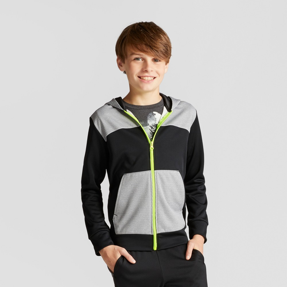 Boys Textured Tech Fleece Full Zip Hoodie - C9 Champion Black L