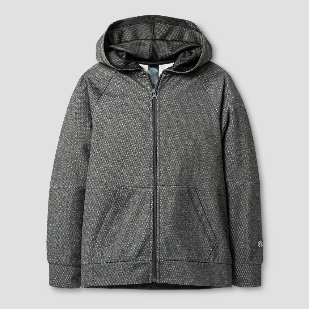 Boys' Textured Tech Fleece Full Zip Hoodie - C9 Champion Heather Gray XL