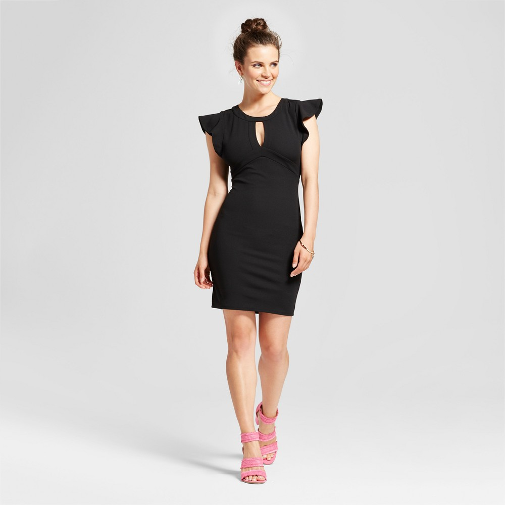 Womens Ruffle Sleeve Keyhole Bodycon Dress - Almost Famous (Juniors) Black M