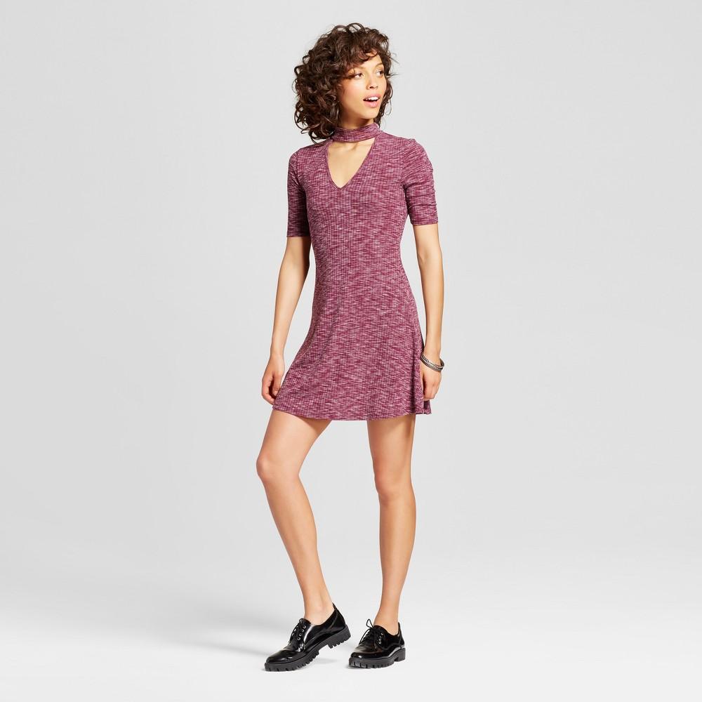 Womens Mock Neck Keyhole Skater Dress - Almost Famous (Juniors) Purple M
