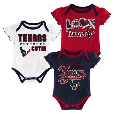 Houston Texans Baby Girls' 3pk Bodysuit Set - 0-3 M