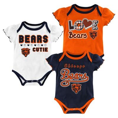 Chicago Bears Baby Girls' 3pk Bodysuit Set - 6-9 M
