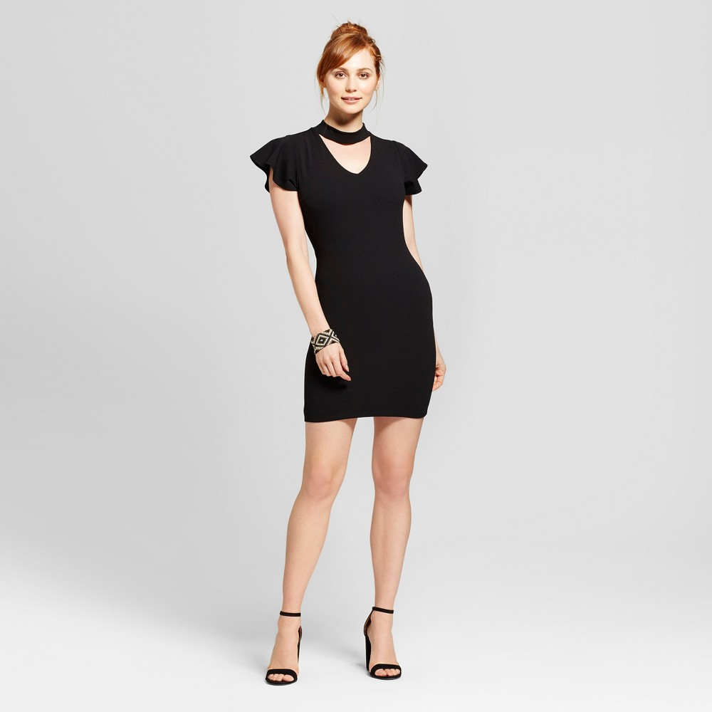 Womens Ruffle Sleeve Mock Neck Cut Out Bodycon Dress - Almost Famous (Juniors) Black S