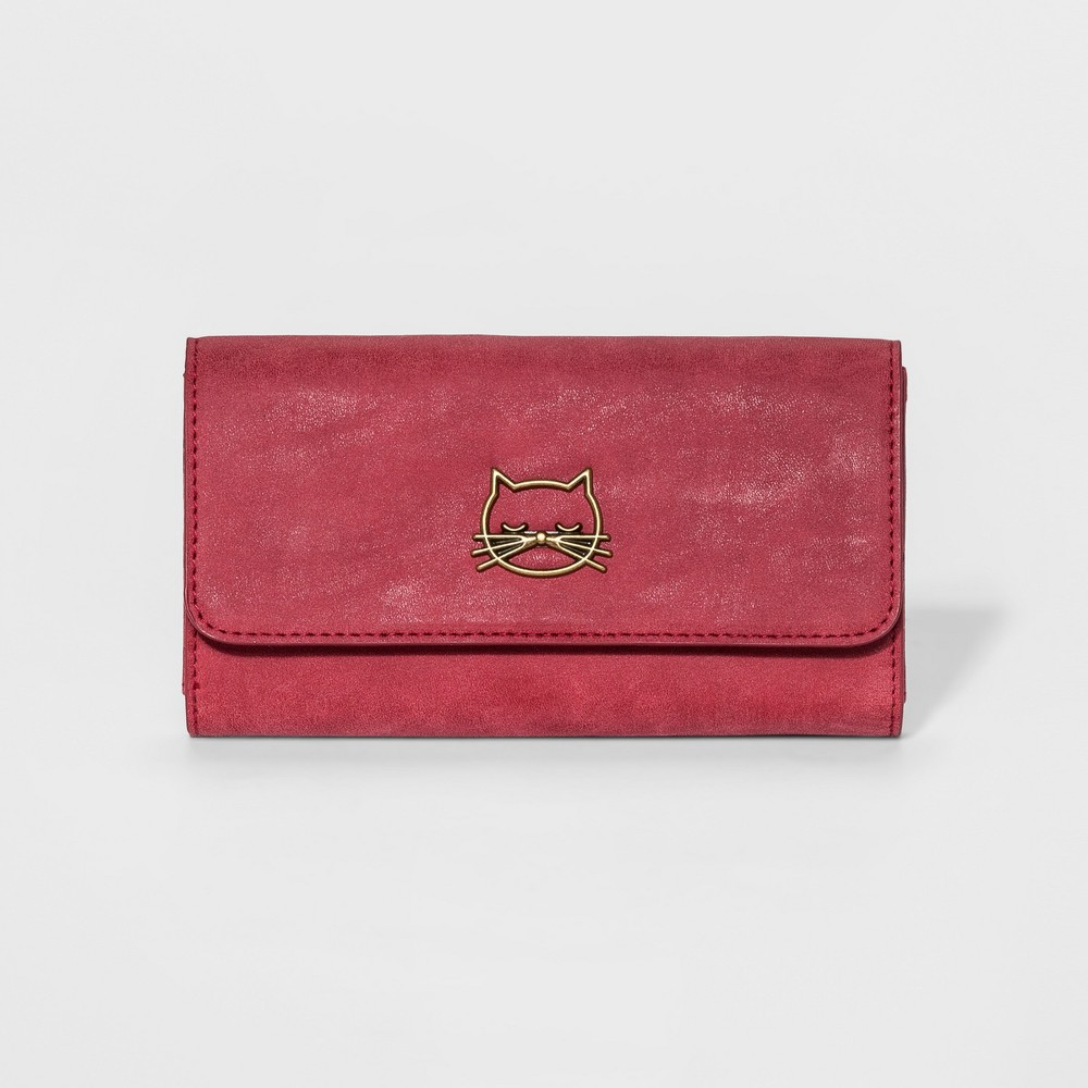 Womens Faux Leather Wallet with Cat Icon - Mossimo Supply Co. Wine (Red), Size: Small