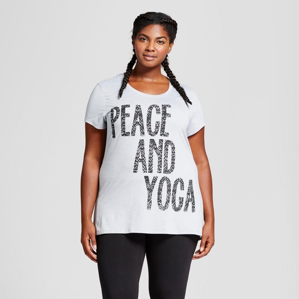 Womens Plus-Size Graphic T-Shirt - C9 Champion - Dark Gray Heather Woke Up Running 4X, Black