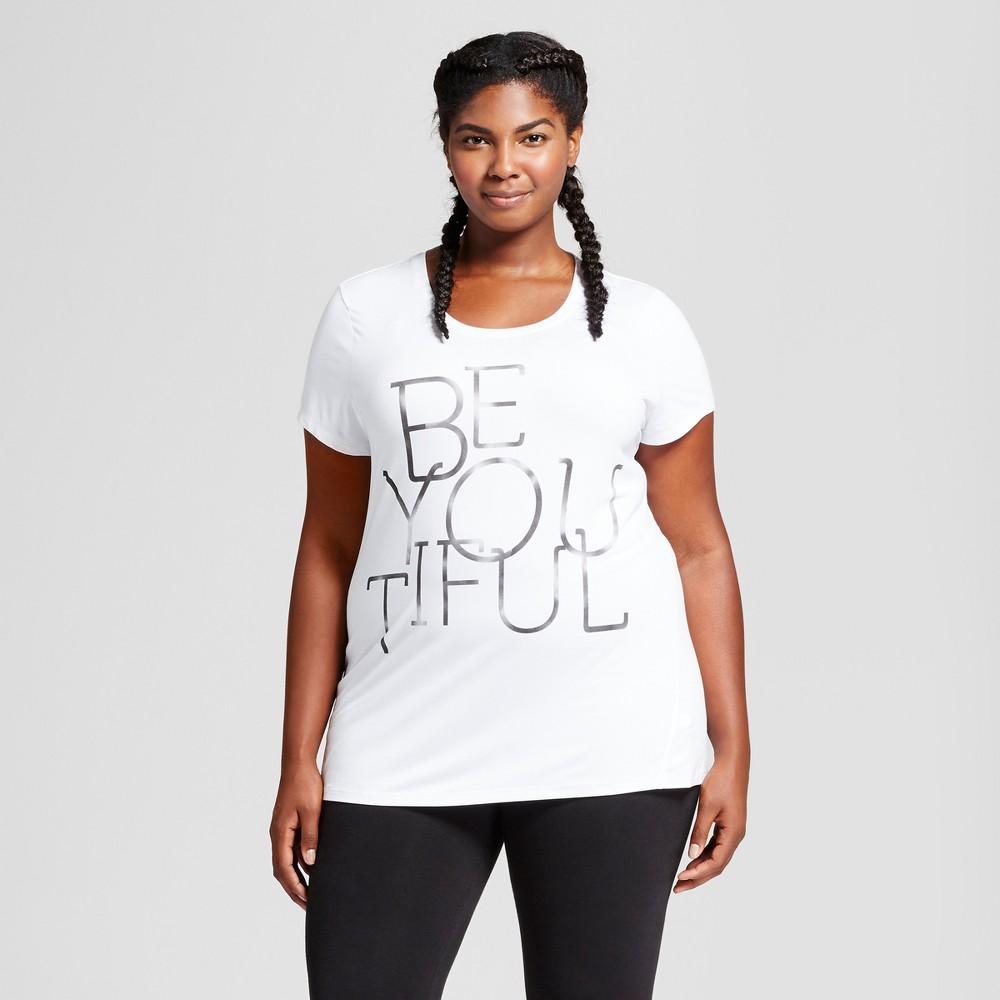 Womens Plus-Size Graphic T-Shirt - C9 Champion - White Be You Tiful 2X